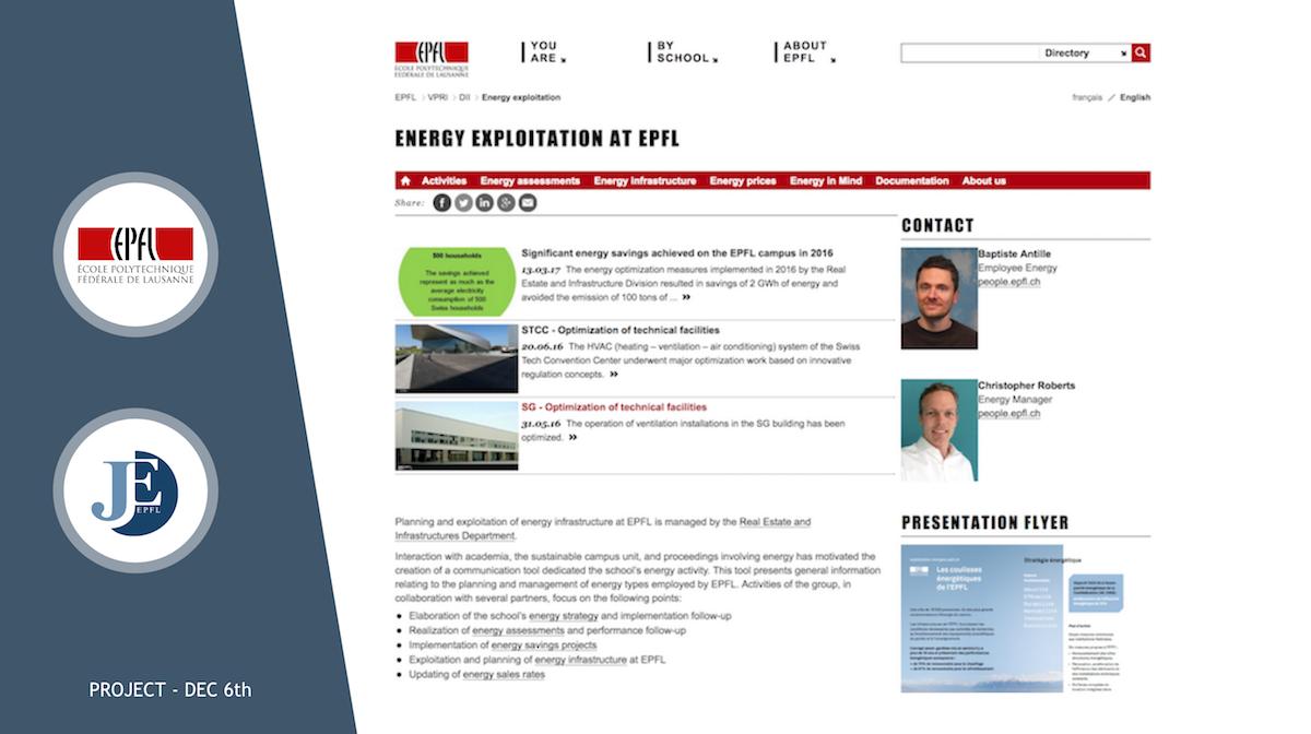 """Traduction du site """"Exploitation des énergies à l'EPFL"""" en anglais"""
