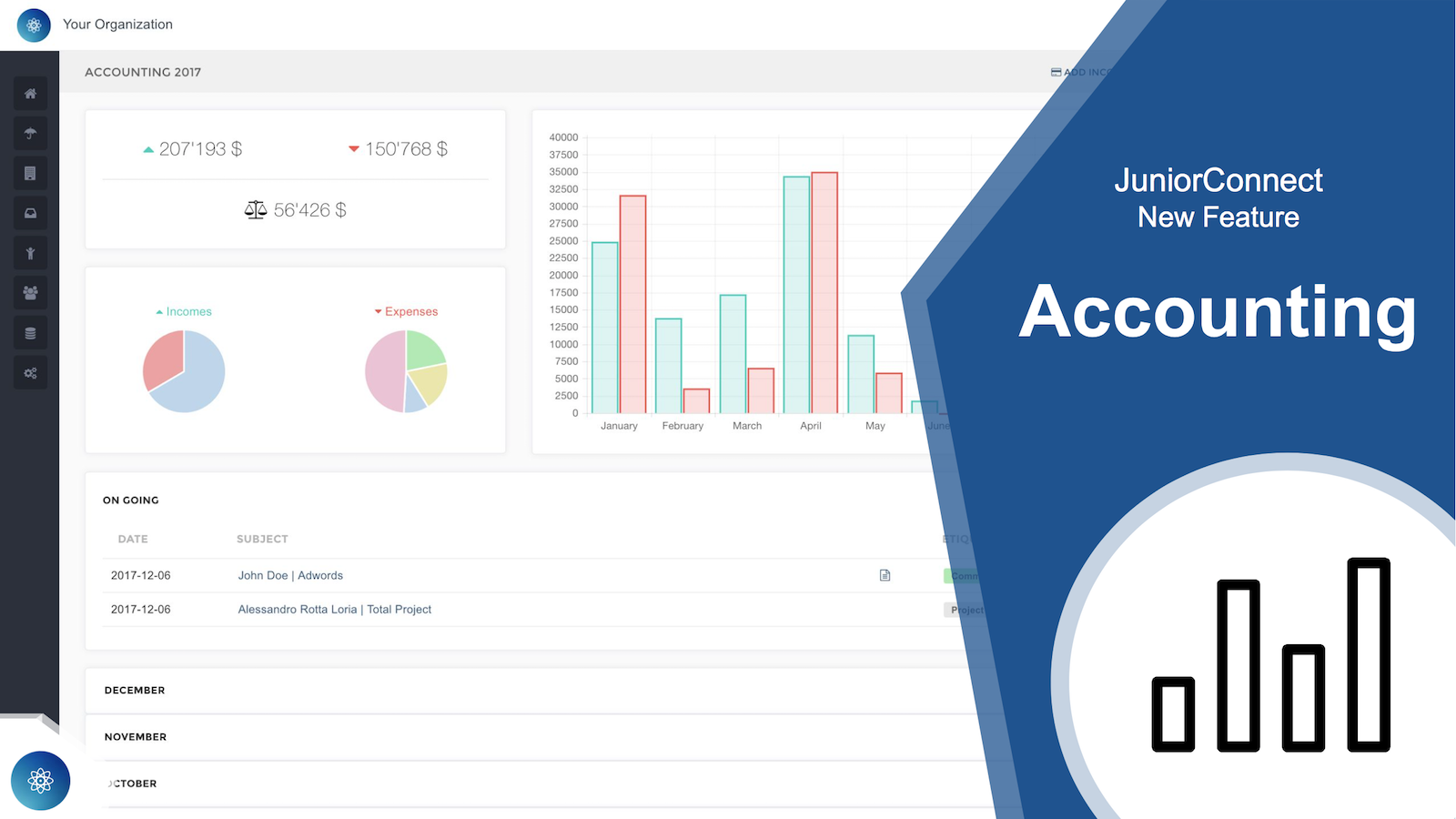 With JuniorConnect, accounting within your organization gets clearer